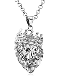 """LUXUSTEEL """"ROAR"""" Men's 3D Lion King Head Pendant Necklace Gold/Silver Color,with 60cm O Linked Chain"""