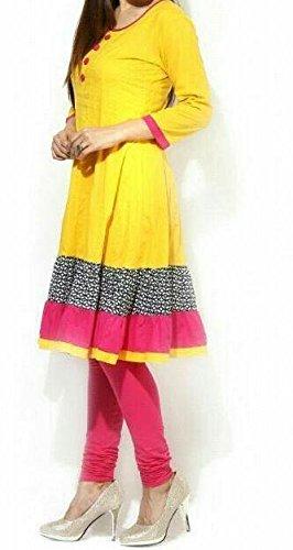 Kurti (Sai Fab Women\'s Cotton Printed Yellow & Pink Kurti) ( Free Size Altrable Till 42-44 OR XL)