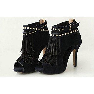 Stivali da donna Comfort Camoscio in pelle scamosciata Casual Colore casuale Khaki Black Flat Black