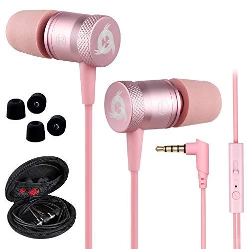 KLIM Fusion Audio Kopfhörer - Langlebig + Innovativ: In-Ear-Kopfhörer mit Memory Foam - Pink - Neue 2020 Version - 3,5mm Jack - Rosa Gold
