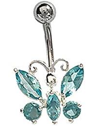 Piedra de mariposa Piercing para la barriga FranceBijoux falsos-azul y plateado en acero inoxidable