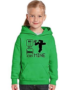 Sudadera con capucha con capucha para niños y niñas, diseño con texto en inglés Printing 4 U Eat Sleep Mine Funny...