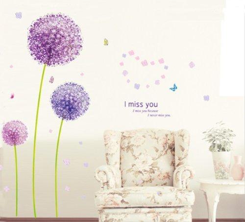 Sunnicy® LILA Löwenzahn Romantisch schönen Pusteblume im Wind Wandtattoo Blumen & Schmetterling Wandaufkleber Wandsticker