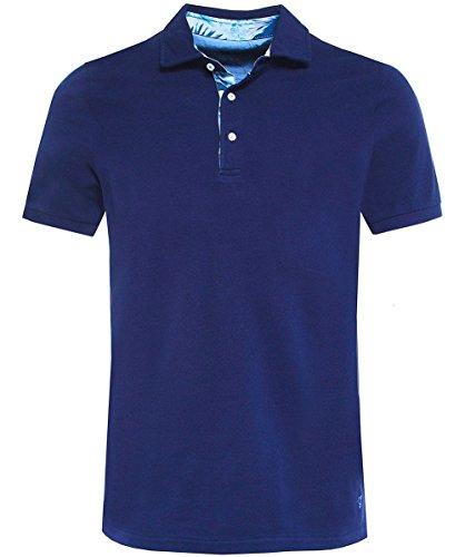 Stenstroms Herren Pique-Kontrast-Trim-Polo-Shirt Marine M (Polo Trim Kontrast)