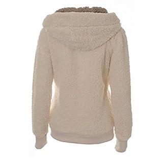 Ladies Womens Soft Teddy Fleece Hooded Jumper Hoody Jacket Coat Cream Taupe Black (CDK008-G-S)