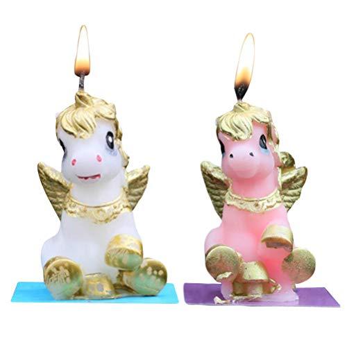 BESTOYARD 2pcs Unicorn Velas Sin Humo Pastel Vela Decoración de la Boda de cumpleaños Adornos de Velas