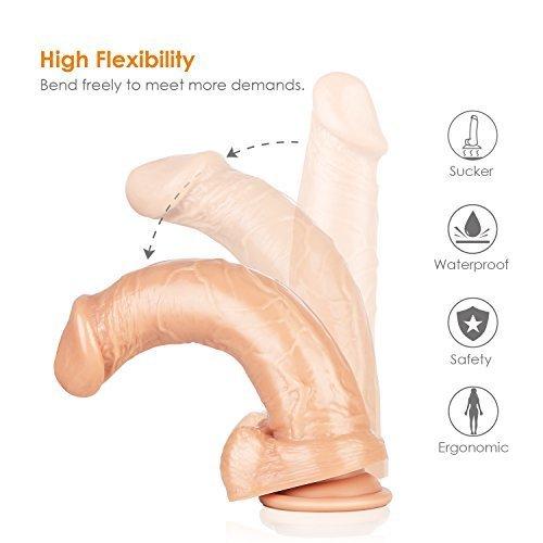 Foto de Aster Dildo Silicona Consolador Realista 22.5cm Pene con Potentes Ventosas Juegutes para Mujer y Hombre