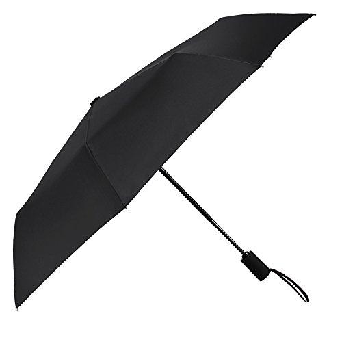 [Aggiornato] PLEMO Pioggia Ombrello Nero Pieghevole 37'' di Diametro Classico Automatico Apre e Chiude Per Viaggio Tascabili