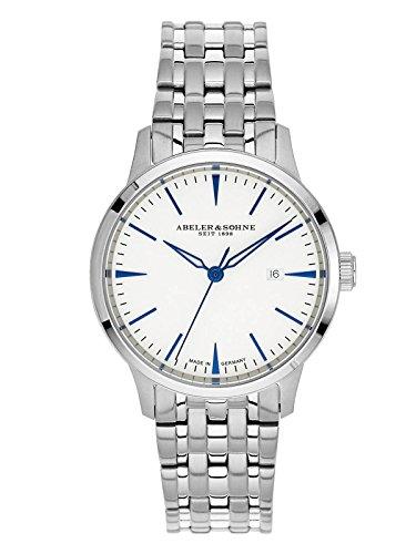 Abeler & Söhne fabricado en Alemania–Reloj de pulsera para mujer con correa de acero inoxidable, cristal de zafiro y fecha as3020m