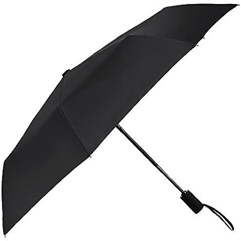 PLEMO Paraguas de Viaje Plegable Automático Negro Clásico, Actualizado
