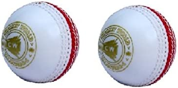 CW Set of 2 Spin Poly Soft PVC White & Red Sports Cricket Ball Suitable For General Training & Practice,Coaching