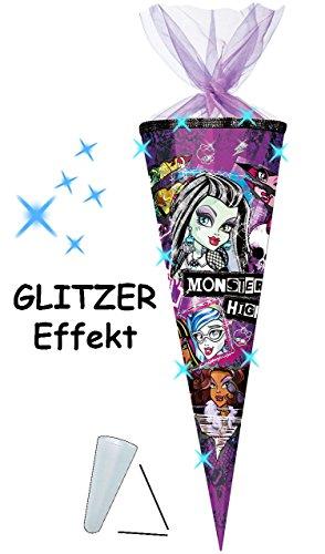 alles-meine.de GmbH mit 3-D Glitzer Effekt ! - Schultüte -  Monster High - Schaurig schräg  - 70 cm - rund - Organza Abschluß - Zuckertüte - mit / ohne Kunststoff Spitze - für ..