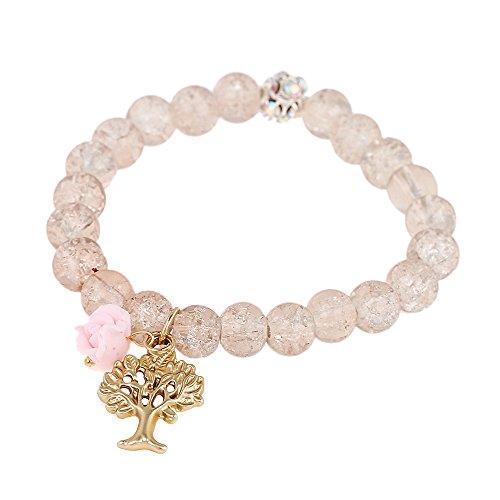 Bracciale cristallo Style Perle Bianco con sfera rosa rose Albero Brass regolabile