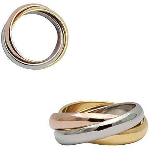 3colori Color anello in oro Steel lucidato Rose Gold Plated Tricolor tre anello Band anello fidanzamento matrimonio Rose Gold argento uomo e donna 23Dimensioni da 45a 71