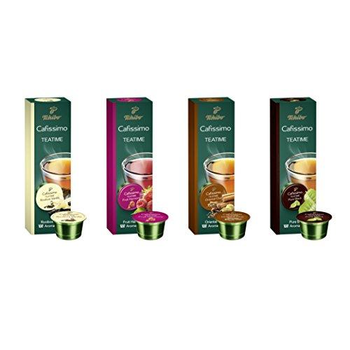 Preisvergleich Produktbild Tchibo Cafissimo Tee Sorten Mix,  Früchtetee,  Roibos Vanilla,  Pure Black,  Oriental Chai,  Probierbox - 40 Bio-Tee-Kapseln