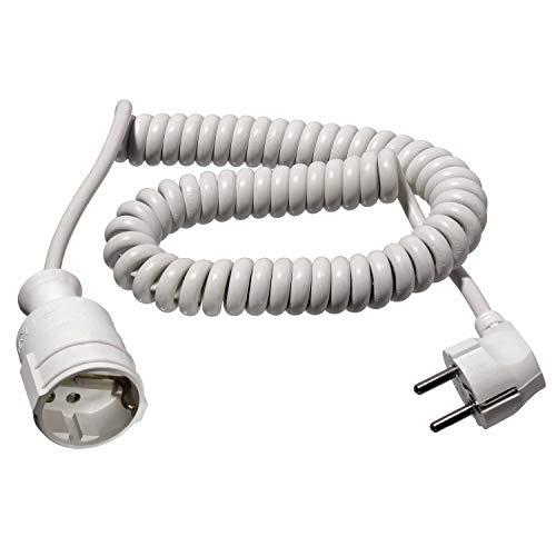 as - Schwabe Schutzkontakt-Spiralleitung - von 1 m auf 2,5 m dehnbares Spiral-Kabel mit Schutzkontaktwickelstecker & Schutzkontaktkupplung - 230 V / 16 A Verlängerungskabel - IP20 - weiß I 70412