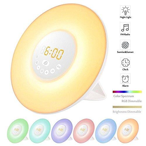 Wake-Up Light, Sonnenaufgang Wecker Touch Control Nacht Lichter mit FM Radio, 7 Farben Multifunktionale Nachttischlampe für Hotel Haus Schlafzimmer Kinderzimmer Kinder Erwachsene