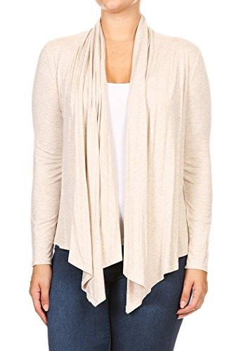 Frauen Plus Solid Long Sleeve Drapierte Hals Open Front Cardigan.Made In US (3X, Creme) (Hals Drapierte)
