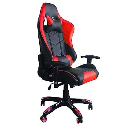 MCTECH Silla de Oficina Racing Gaming Sillón Lujo De Juego Apoyabrazos En Cuero Sintético PU Altura Ajustable (Negro-Rojo)