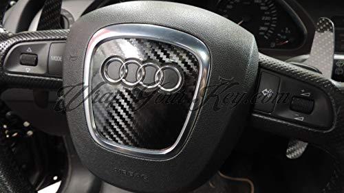 Rivestimento per volante con airbag, fibra di carbonio, nero lucido, per Audi S/RS/A1/A3/A4/A5/A6/A8/TT/Q3/Q5/Q7