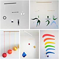 Set of 5 Montessori inspired mobiles - Black and White mobile, Orange Gobbi, Dancers, Octahedron, Rainbow. Montessori mobile. Baby mobile. Hanging mobile. Crib toy