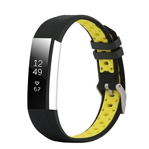 """Fit-power Fitbit Alta und Alta HR Armband, verstellbar, Ersatzsportarmband für Fitbit Alta und Alta HR Smartwatch Fitness-Armband, Schwarz/Gelb, Free Size(5.5"""" - 8.1"""")"""