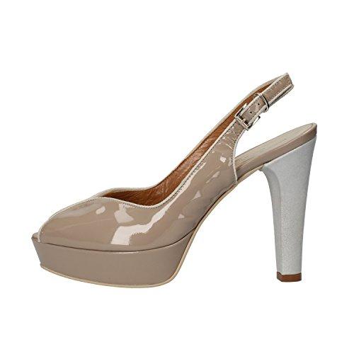 SERGIO CIMADAMORE sandali donna beige vernice argento camoscio AF486 (37 EU)
