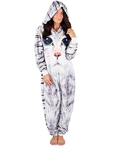 Pigiama donna intero tuta intera pigiamone unicorno koala coniglio cane carlino pinguino dinosauro gatto pigiami animali cosplay costume animale (m (12-14), stampa felina)