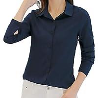 ZIYOU Frauen Bluse Chiffon Einfarbig Büro Lässig Mode Langarmshirts Oberteile Elegante Button-down Blusenbody Tunika Freizeit Blusen