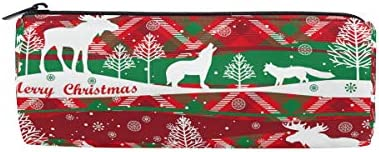 Bonipe Merry Christmas Renne arbres Trousse Pochette Sac d'école papeterie Pen Box Zipper Cosmétique Sac de maquillage | Une Bonne Conservation De La Chaleur