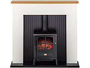 Adam Innsbruck Stove Suite in Pure White with Dimplex Brayford Electric Stove in Black, 48 Inch