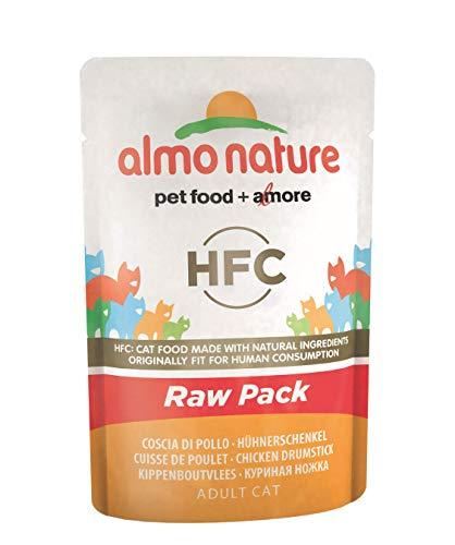 almo nature Hfc Raw Pack Cat con Pollo Coscia di Pollo (Confezione da 24X55G)