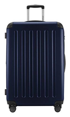 HAUPTSTADTKOFFER® 128 Liter XL Reisekoffer · SPREE · TSA · MATT · NEU 4 Doppel-Rollen · (in 12 Farben) + LogiLink® Flugzeug Audio Adapter (Cyan Blau) Dunkelblau