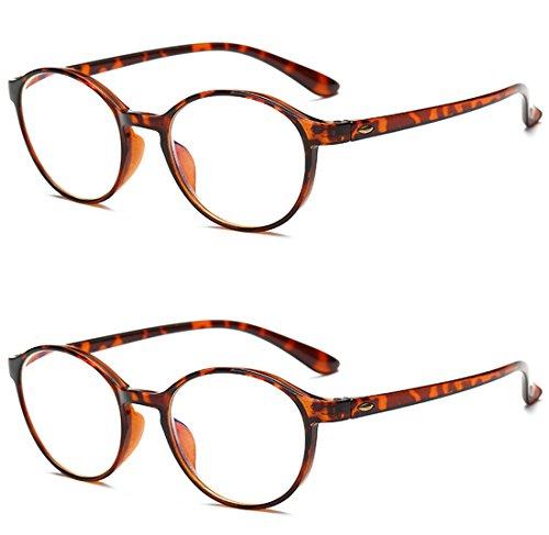 VEVESMUNDO® Lesebrillen Damen Herren Computer Lesebrille Augenoptik Flexibel Lesehilfe Sehhilfe Arbeitsplatzbrille Anti Blue Rays Leser Brille Schwarz Leopard (2 Stücks Set(BRAUN+BRAUN), 1.5)