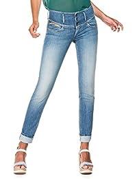 Salsa - Jeans Push Up slim avec détails en simili cuir et usures - Mystery - Femme