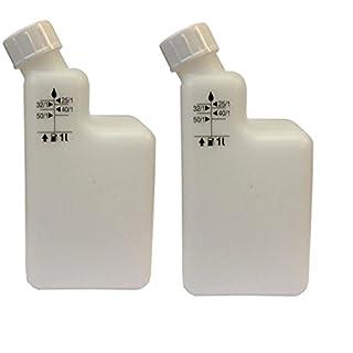 Unbekannt Kraftstoffmischflasche, 1 l, 2-Takt-Motoröl, Pre-Mix 40/1 25/1 32/1 50/1, Motorsense/Kettensägen, 2 Flaschen