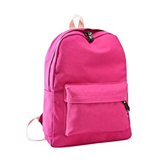 AutumnFall 2017 New Fashion Women Girls Canvas Backpack Girls Preppy Bookbags Travel Bag (Hot Pink)