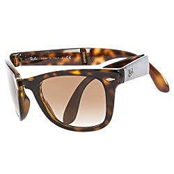 Ray-Ban Mens Folding Wayfarer Square Sunglasses, Light Havana & Crystal Brown Gradient, 54 mm