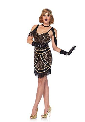 shoperama 20er Jahre Charleston Kostüm Gold/Schwarz von Leg Avenue Damen Gatsby Kleid, (Sexy Schwarzes Flapper Kostüm Für Erwachsene)