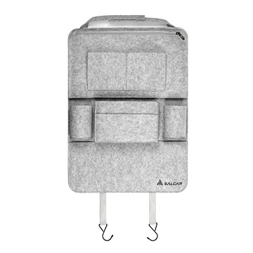 Salcar Autorücksitzorganizer Autositz Schutzfolie Tasche Auto Organizer Utensilientasche mit iPod, Notebook, iPhone,Getränke, mit 8 Filztaschen, 58x 42 cm, Grau -