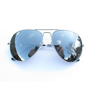 ALPLAND - Sonnenbrille - AVIATOR STYLE FLIEGERBRILLE - PILOTENBRILLE Gläser SILBER FLASH VOLL VERSPIEGELT XXL...