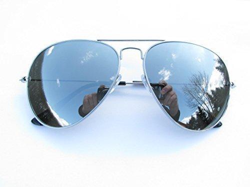 Alpland Sunglasses - Aviator Style, Pilot Glasses, Silver Flash Full Mirrored XXL Lenses by Alpland