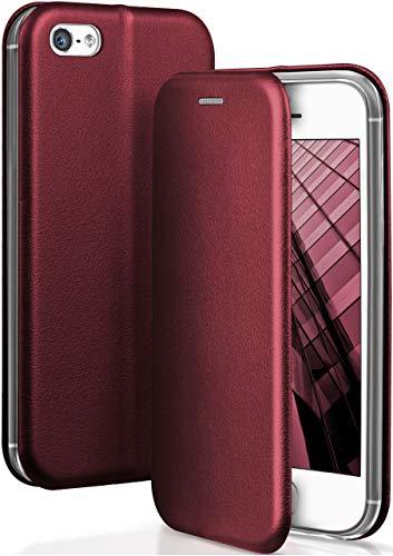 ONEFLOW® Premium Booklet mit unsichtbarem Magnetverschluss + Aufstellfunktion kompatibel mit iPhone 5S / 5 / iPhone SE | Exklusive Lederoptik, Wein-Rot