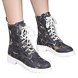TianWlio Boots Stiefel Schuhe Stiefeletten Frauen Herbst Winter Quadratische Ferse Schuhe Stiefel Leder Warmes Rundes Zeh Halten Schnürschuhe Weihnachten Schwarz 37