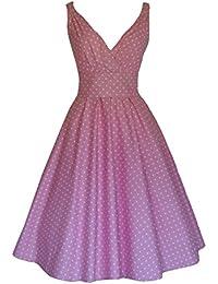 1950 diseño Retro de es de lunares de color rosa Full algodón diseño de vestido de fiesta vestido de dama de honor e instrucciones para hacer vestidos de fiesta de círculos