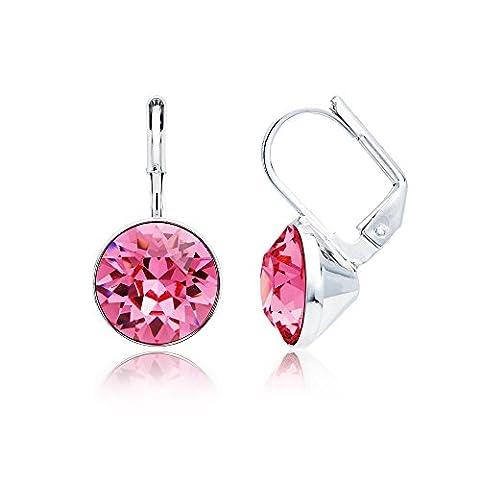 MYJS Bella Rhodium Plated Mini Drop Earrings with Aurora Borealis Swarovski Crystals