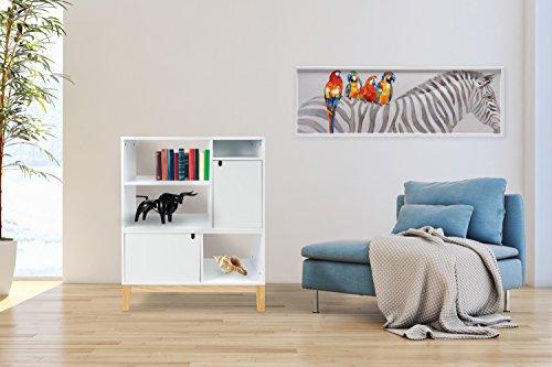 Kayoom Design Sideboard Modern Schrank Regal Scandi SKANDINAVISCH Weiß Holz (A/v-schrank Holz)