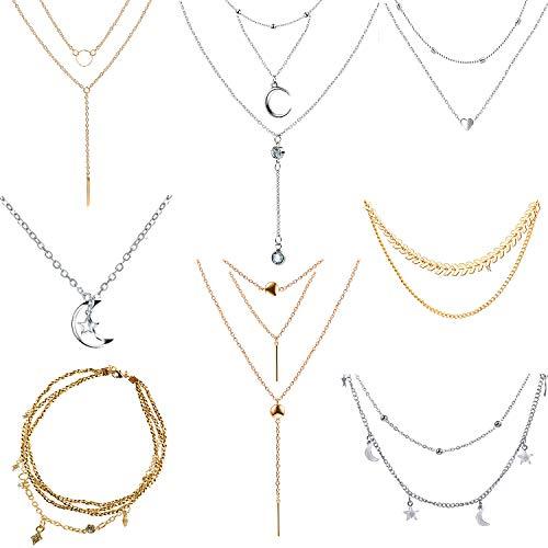 Czemo 8 Piezas Collar de Múltiples Sapas, Moda de Metal Collar de Gargantilla de Cadena de Múltiples Capas con Colgante para Mujeres y Niñas