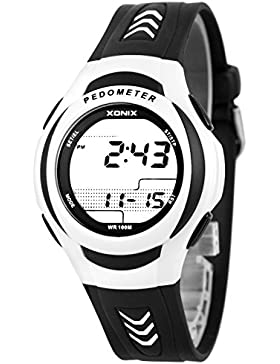 Unisex Trainings XONIX Armbanduhr mit Schrittzähler Kalorienzähler Speicher WR100m, PQG/3