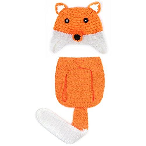aierwish Kinder Baby Strick Mütze Fotoshooting Fuchs Neugeborene Muster Design Hut Kostüm Hüte